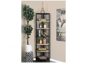 Segovia Natural Tone/Black 6-Tier Corner Shelf