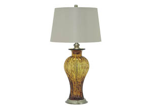 Image for Ardal Amber Glass Table Lamp