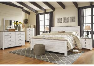 Image for Willowton Whitewash King Panel Bed w/Dresser, Mirror and Nightstand