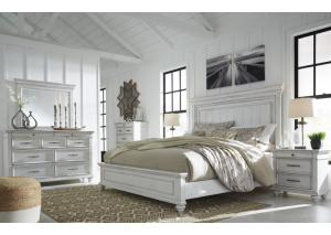 Image for Kanwyn Whitewash King Panel Bed w/Dresser, Mirror and Nightstand