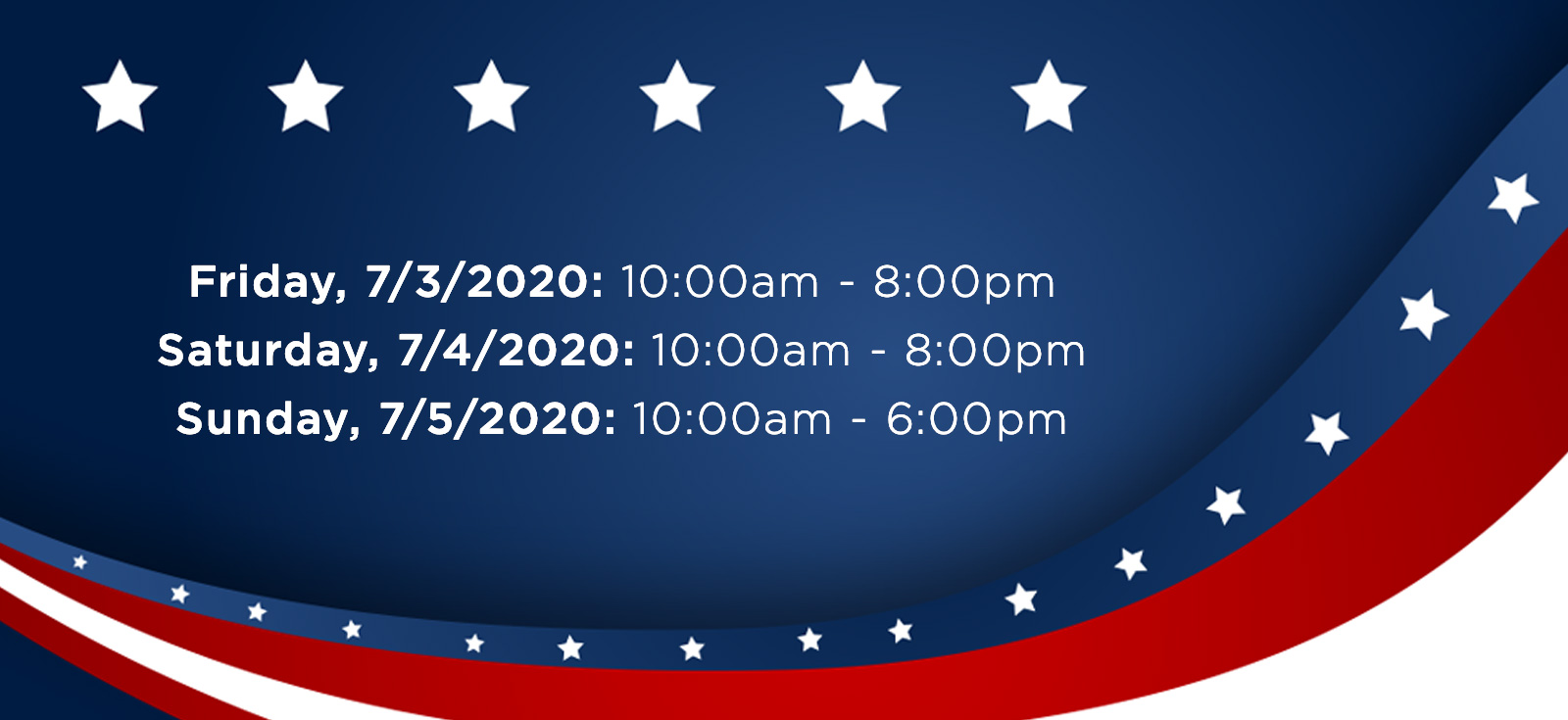 4th of July Hours Banner