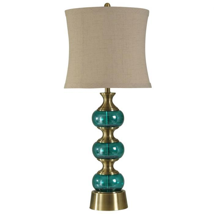 Brass and Teal Glass Table Lamp Natural Linen Shade ,Orbit Exclusive