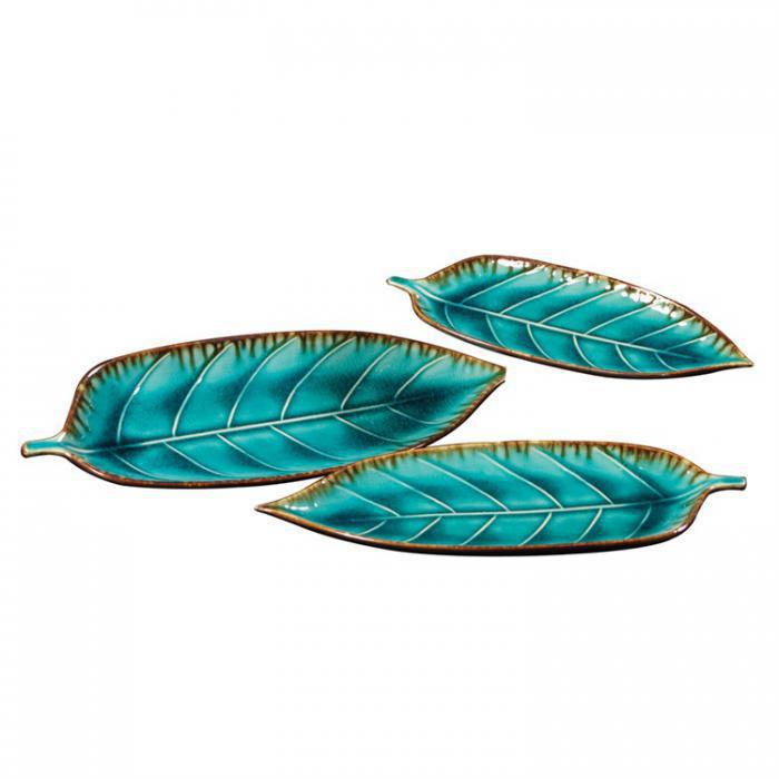 Deep Sea Blue Decorative Leaf Plates  ,Orbit Exclusive