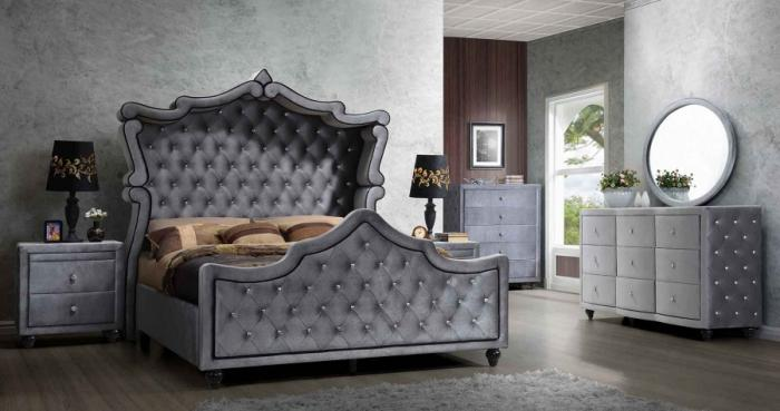 Platinum King Size Bedroom Set,Meridian