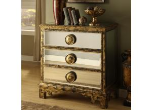 Mirrored  Gold 3 Drawer Chest