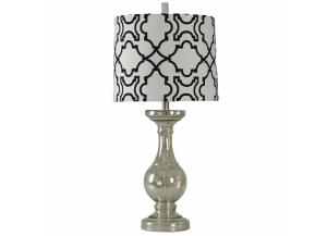 Mercury Glass Lamp with Black and White Fabric Shade