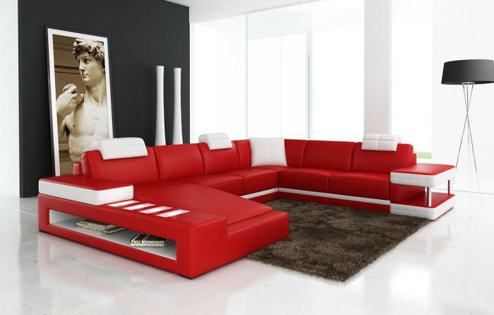 Red Modern Sectional ,Orleans Showcase