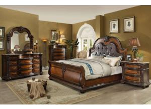 King Sleigh Bed, Marble Top Dresser, Mirror and Marble Top Nightstand.