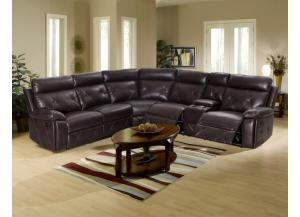 Chocolate Reclining Sectional With 2 Cup Holders