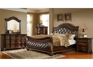 King Sleigh Bed,  Dresser, Mirror and 1 Nightstand.