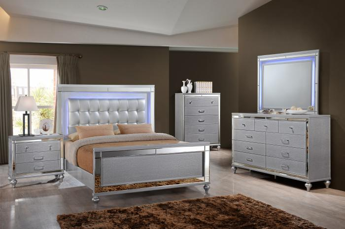 Valentino Dresser, Mirror, and Queen Bed,New Classic