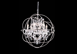 Geneva Polished Nickel Pendent Lamp w/ Royal Cut Crystals