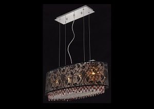 Moda Checker Board Bordeaux Pendant Lamp w/ Clear Crystals