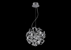 Tiffany Chrome Pendant Lamp w/ Elegant Cut Crystals