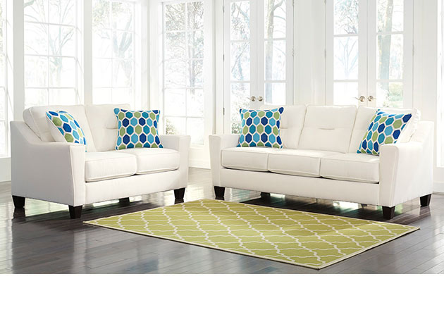 White Sofa and Loveseat