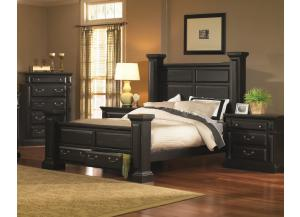 Rustic Black Queen Storage Bed