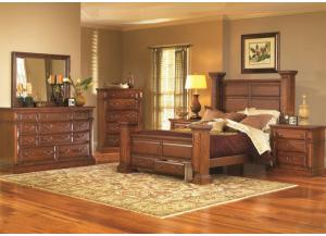 Torreon Rustic King Storage Bed, Dresser, & Mirror
