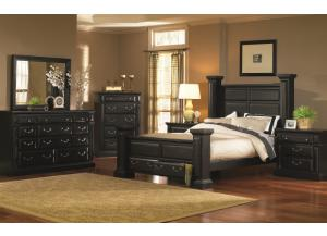 Rustic Black Queen Storage Bed, Dresser, & Mirror