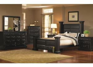 Rustic Black King Storage Bed, Dresser, & Mirror