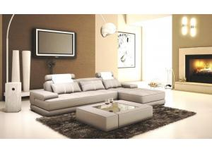 5005 Modern Light Grey and White Bonded Leather 2 Pc. Sectional
