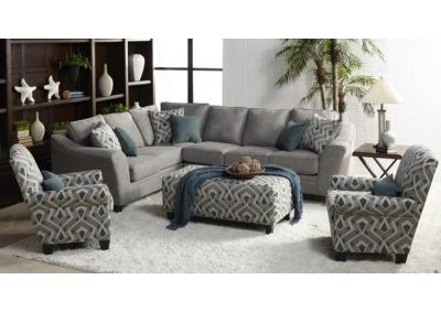 Flair Gray and Teal Sectional