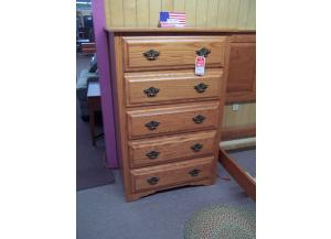 Amish Made Solid Oak 5 drawer Chest