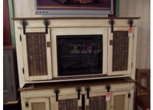 Amish made tv stand w/ fireplace insert