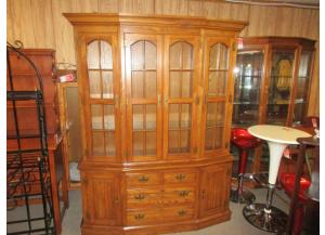Large Oak Lighted Hutch