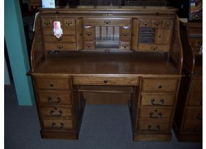 Image for Oak 54 inch deluxe Roll Top Desk