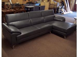Faux Leather Chaise Sofa. Was $1399.00