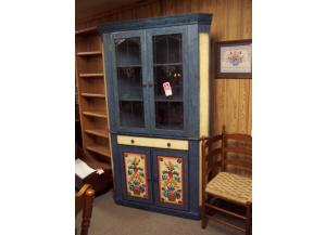 Hand painted solid wood corner cabinet