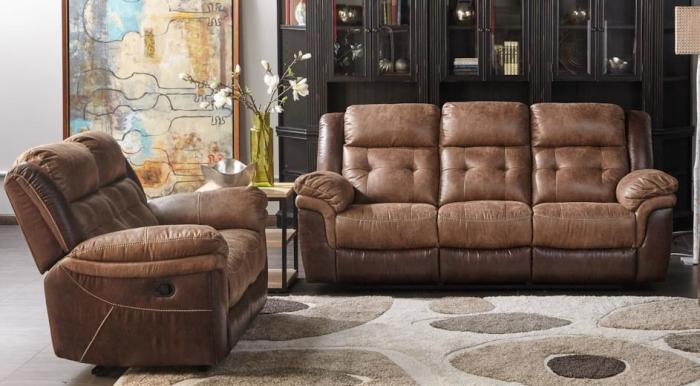 Cheers Two Tone Reclining Sofa and Love Seat,Cheers