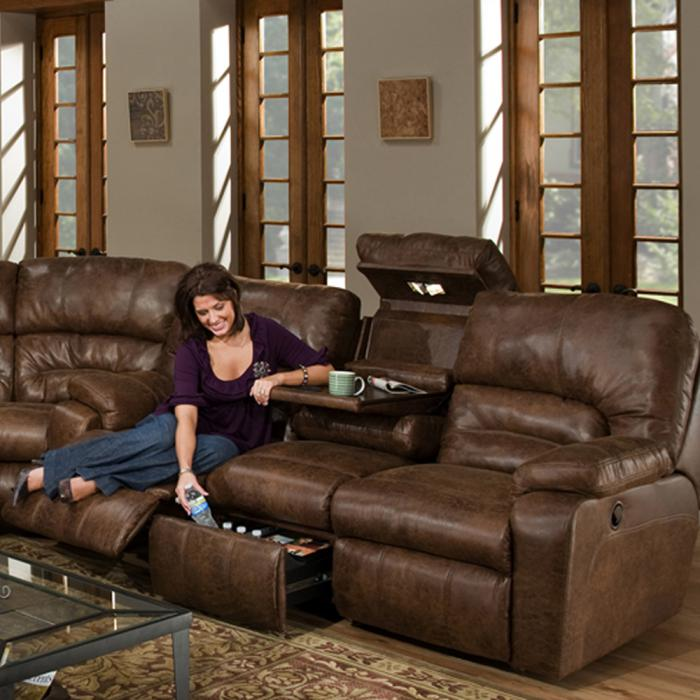 Dakota Reclining sofa with Massage and Frosty Fridge,FRANKLIN