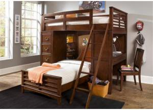 628 Chelsea Square Twin Loft Bunkbed w/Chest & Desk & chair