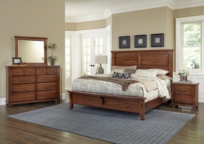 American Cherry Queen Bed w/Dresser, Mirror and Nightstand,IN STORE
