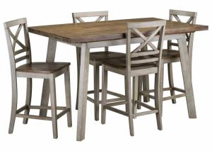 5 Piece Dinette w/Counter Height Table and 4 Chairs