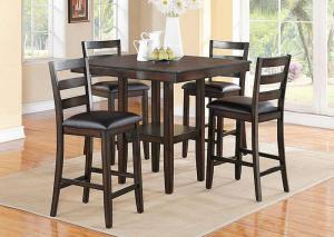 5 Piece Dinette w/Counter Height Table and 4 Counter Stools