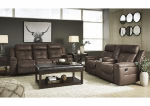 2 Piece Reclining Sofa and Reclining Loveseat w/Console