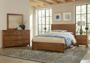 Brown King Bed w/Dresser, Mirror and Nightstand