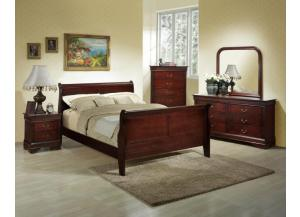 Louis Philippe Cherry Queen Bed, Dresser, Mirror, 2 nightstands