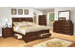 Queen Storage Bed, Dresser, mirror, chest, 2 nightstands