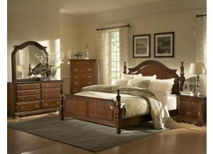 Queen poster bed, Dresser, mirror, Chest, 2 Nightstands