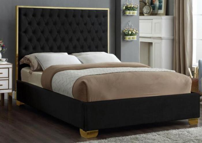 Lexi Black w/Gold Trim Queen Bed ,Specials