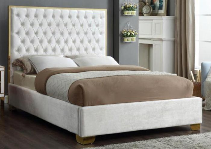 Lexi White w/Gold Trim Queen Bed ,Specials