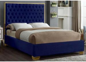 Lexi Blue w/Gold Trim Queen Bed