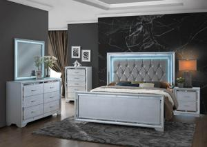 Ralene Queen Bed w/Dresser, Mirror, Chest, and Nightstand