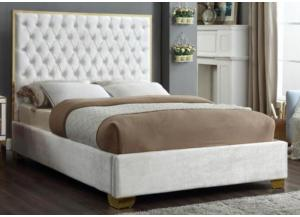 Lexi White w/Gold Trim Queen Bed