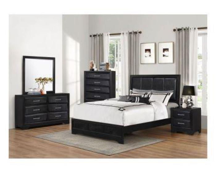 Lacquer Black Queen Bed (Hdbrd/Ftbrd/Rails),Lifestyle