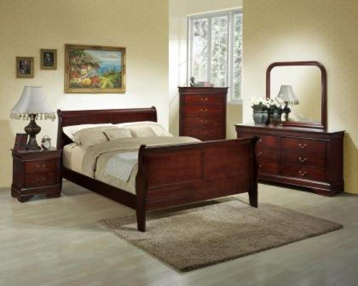 Louis Philippe Cherry Dresser, Mirror, Queen Bed & Nightstand,Lifestyle