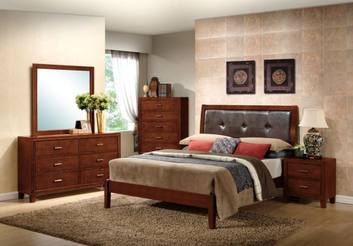 Dark Walnut Dresser, Mirror, Queen Bed and Nightstand,Lifestyle